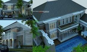 Desain Rumah Mewah Dengan Kolam Renang Sekitar Rumah