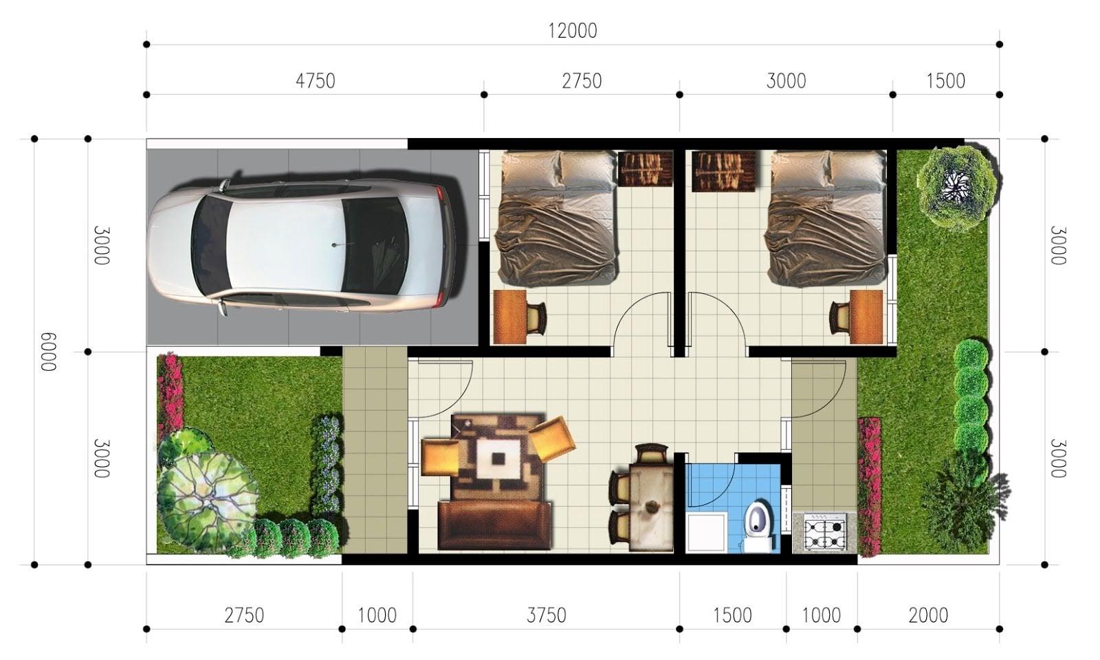 32 Gambar Desain Rumah Type 21 Trend Masa Kini
