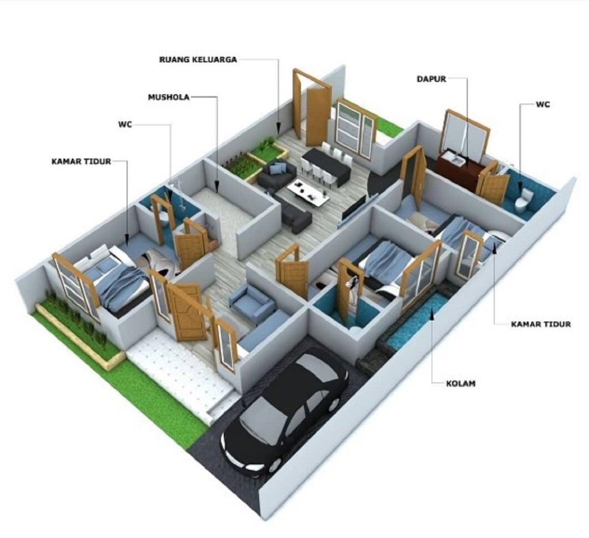 32 Kumpulan Desain Rumah Minimalis 3 Kamar 1 Mushola Paling Populer di Dunia